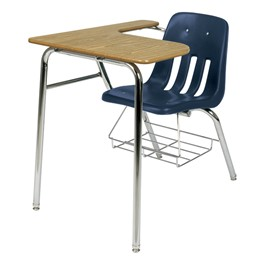 9400 Polypropylene Combo Desk w/ Bookrack - Shown w/ navy seat