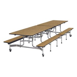 Mobile Bench Cafeteria Table - Chrome Frame - Shown w/ Medium Oak laminate