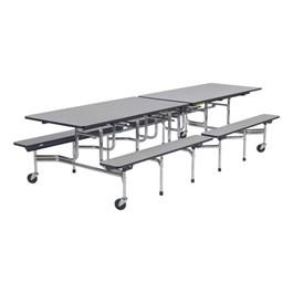 Mobile Bench Cafeteria Table - Chrome Frame - Shown w/ Gray Nebula laminate