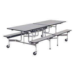 Mobile Bench Cafeteria Table - Chrome Frame - Shown w/ Gray Nebula laminate