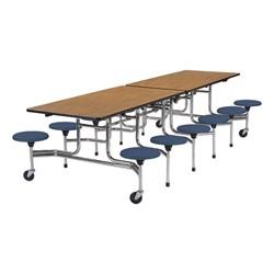 Mobile Stool Cafeteria Table w/ 12 Stools - Chrome Frame - Shown w/ Medium Oak laminate & Navy stools