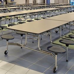 Mobile Stool Cafeteria Table w/ 12 Stools - Chrome Frame - Shown w/ Gray Nebula laminate & Purple Iris stools