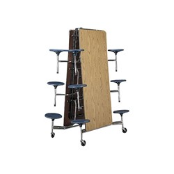Mobile Stool Cafeteria Table w/ 12 Stools - Chrome Frame - Shown w/ Medium Oak laminate & Navy stools - Shown folded