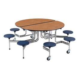 Oval Mobile Stool Cafeteria Table w/ Eight Stools - Chrome Frame - Shown w/ Medium Oak laminate & Navy stools