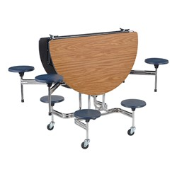 Oval Mobile Stool Cafeteria Table w/ Eight Stools - Chrome Frame - Shown w/ Medium Oak laminate & Navy stools - Shown folded