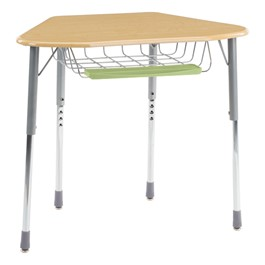 Zuma Hexagonal School Desk - For Hexagonal Groupings - Wire Book Basket & Pencil Tray