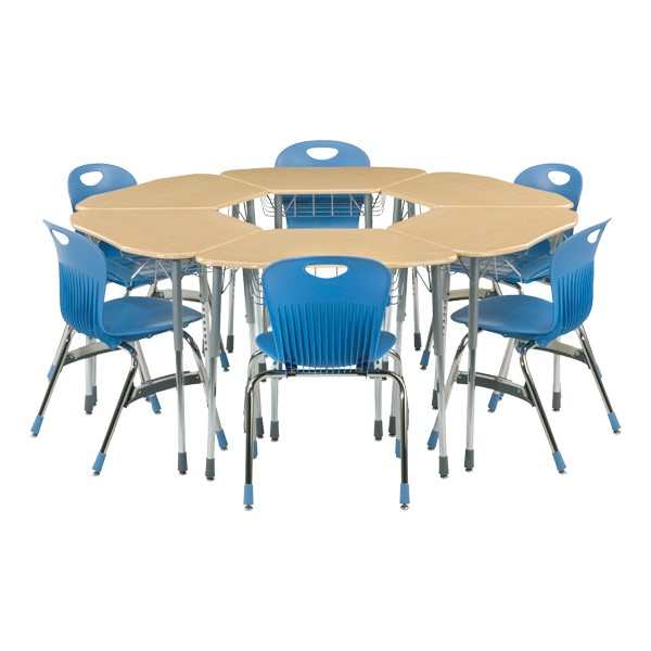 Zuma Trapezoid School Desks - For Hexagonal Groupings - Wire Book Basket & Pencil Tray<BR>Desks sold separately.