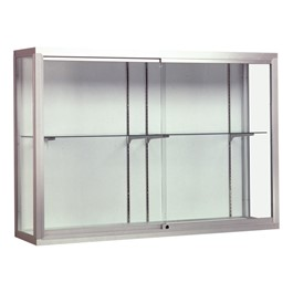 Waddell Champion 12400 Series Display Case - Shown w/ satin aluminum frame & white back