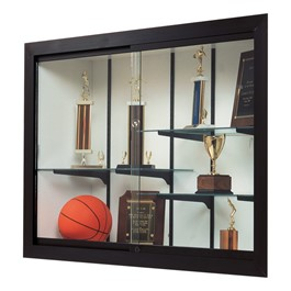 Harbor Series Recessed Wall Display Case - Shown w/ dark bronze frame & white back