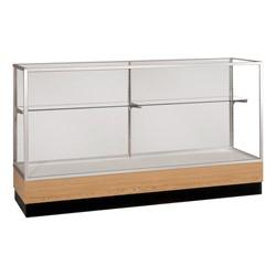 "Merchandiser 2010 Series Counter-Height Display Case - 48"" W model shown w/ satin aluminum frame & light oak base"
