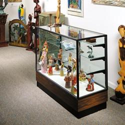 """Merchandiser 2010 Series Counter-Height Display Case - 48"""" W model shown w/ dark bronze frame & walnut base"""