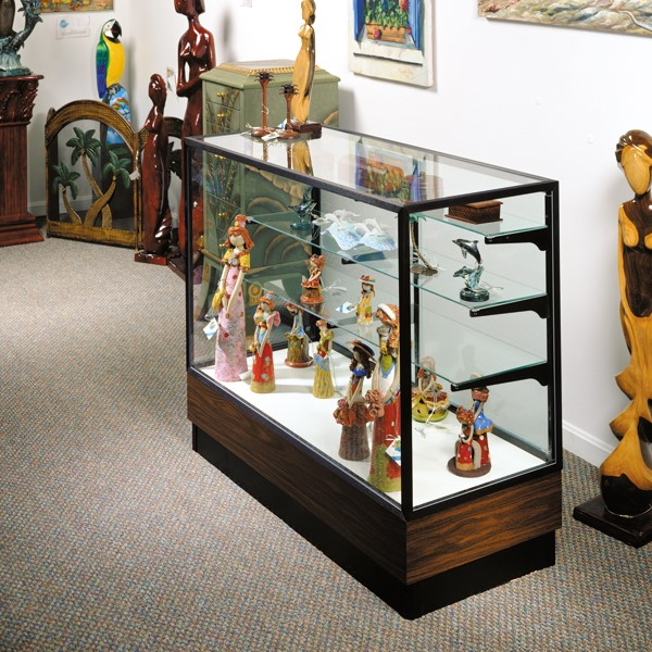 "Merchandiser 2010 Series Counter-Height Display Case - 48"" W model shown w/ dark bronze frame & walnut base"