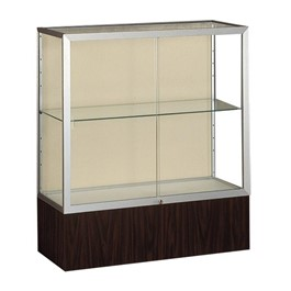 Reliant 2281 Series Counter-Height Display Case - Shown w/ satin aluminum frame & walnut finish