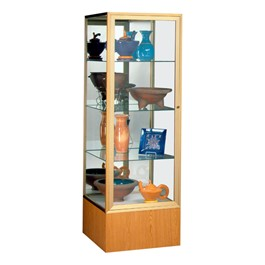 Keepsake 4024 Series Display Case - Shown w/ gold frame & autumn oak finish