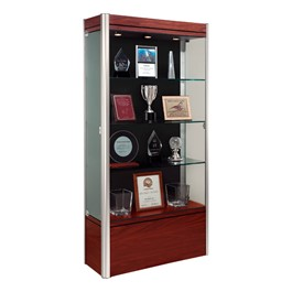 601 Contempo Series Medium Floor Display Case - Shown w/ satin aluminum frame & cherry wood finish