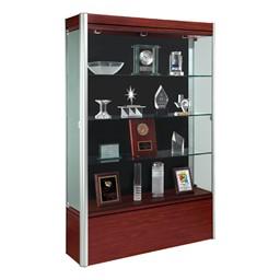 602 Contempo Series Full Floor Display Case - Shown w/ satin aluminum frame & cherry wood finish