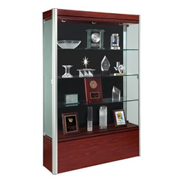 602 Contempo Series Full Floor Display Case - Shown w/ satin aluminum frame & cherry wood finish