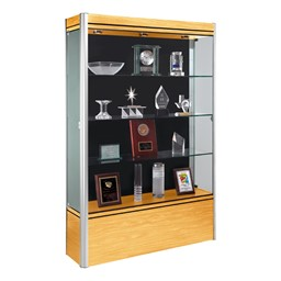 602 Contempo Series Full Floor Display Case - Shown w/ satin aluminum frame & light maple finish