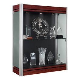 603 Contempo Series Wall Display Case - Shown w/ satin aluminum frame & cherry wood finish