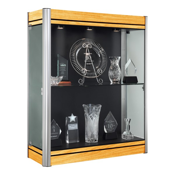 603 Contempo Series Wall Display Case - Shown w/ satin aluminum frame & light maple finish