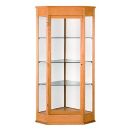Varsity 793 Series Corner Display Case - Shown w/ autumn oak finish