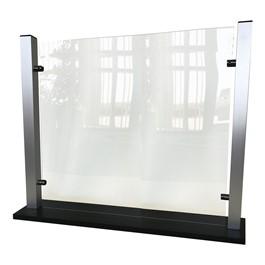 Countertop Protective Acrylic Shield, Aluminum Frame & Black Base