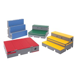 Set of Four flipFORMS Platforms - Shown in One-, Two-, Three-Tier & Storage Configurations