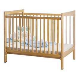 Adjustable-Bottom Safety Crib w/ One Clear End & Mirror