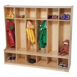 Colorful Wooden Six-Section Locker - Natural