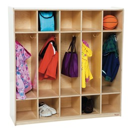 """Natural Birch Wooden Five Section Locker w/out Seat (48\"""" W)"""