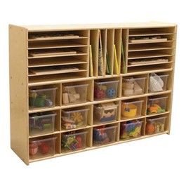 15-Tray Multi-Use Wooden Storage Unit - Assembled & w/ Clear Trays - Accessories not included