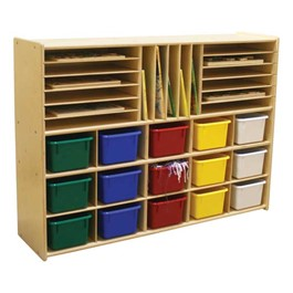 15-Tray Multi-Use Wooden Storage Unit w/ Colorful Trays - Accessories not included