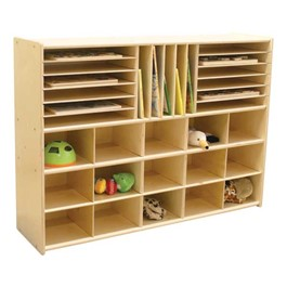15-Tray Multi-Use Wooden Storage Unit - Accessories not included
