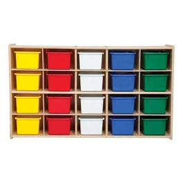 20-Tray Wooden Storage Unit - Assembled & w/ Colorful Trays