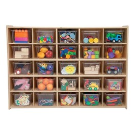 25-Tray Wooden Storage Unit - Assembled & w/ Clear Trays - Accessories not included