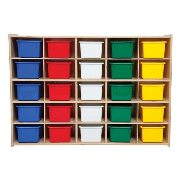 25-Tray Wooden Storage Unit w/ Colorful Trays