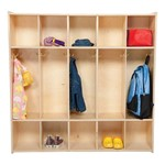 "Wooden Five-Section Locker Unit w/out Seat - Unassembled (47"" W)"