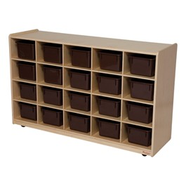 20-Tray Natural Mobile Storage Unit w/ Chocolate Trays