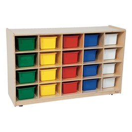 20-Tray Colorful Mobile Storage Unit w/ Assorted Trays - Shown in natural