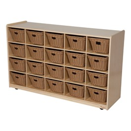 20-Tray Natural Mobile Storage Unit w/ Baskets