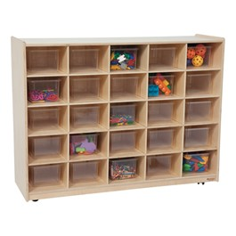 25-Tray Colorful Mobile Storage Unit w/ Clear Trays - Natural - Accessories not included