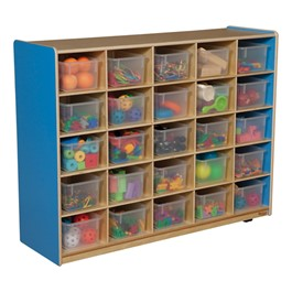 25-Tray Colorful Mobile Storage Unit w/ Clear Trays - Blueberry - Accessories not included