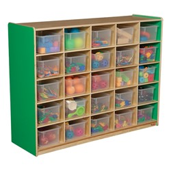 25-Tray Colorful Mobile Storage Unit w/ Clear Trays - Green Apple - Accessories not included