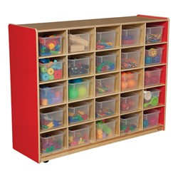 25-Tray Colorful Mobile Storage Unit w/ Clear Trays - Strawberry - Accessories not included