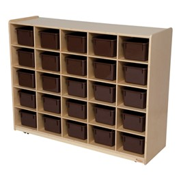 25-Tray Natural Mobile Storage Unit w/ Chocolate Trays