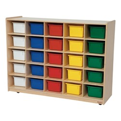 25-Tray Colorful Mobile Storage Unit w/ Assorted Trays - Natural