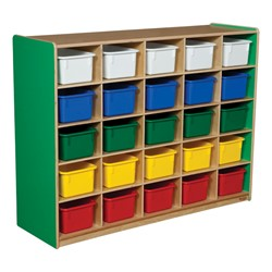 25-Tray Colorful Mobile Storage Unit w/ Assorted Trays - Green Apple