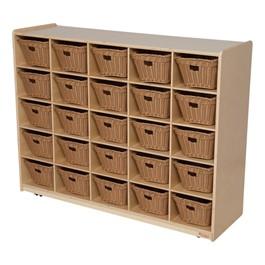 25-Tray Natural Mobile Storage Unit w/ Baskets
