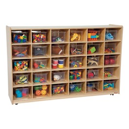 30-Tray Colorful Mobile Storage Unit w/ Clear Trays - Natural - Accessories not included