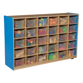 30-Tray Colorful Mobile Storage Unit w/ Clear Trays - Blueberry - Accessories not included